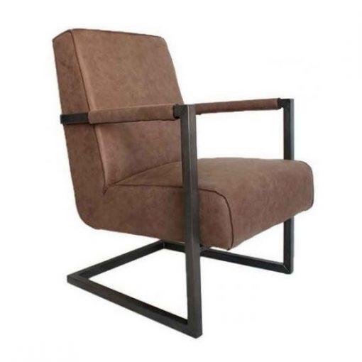 Fauteuil-industrieel-bruin-metalen-frame