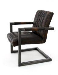 Industriële fauteuil bruin vintage leder stoer