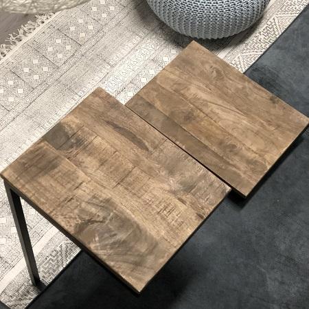 Laptoptafel industrieel zwart met hout