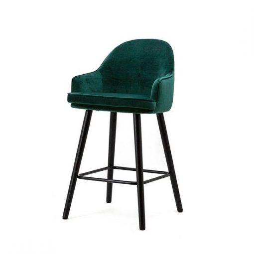 Luxe barkruk velours groen 70 cm