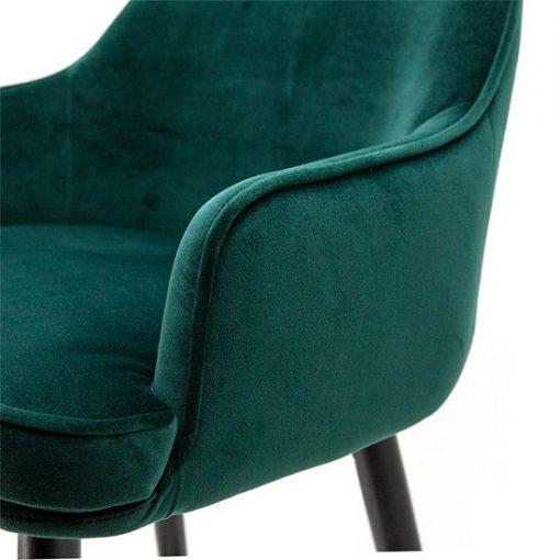 Luxe barkruk velours groen armleuning