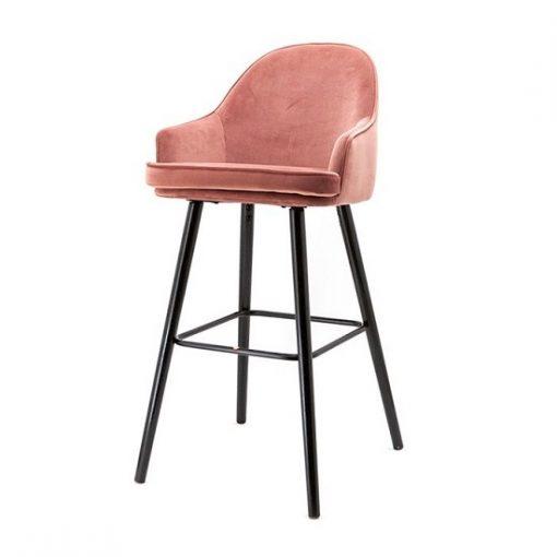 Luxe barkruk velours stof roze
