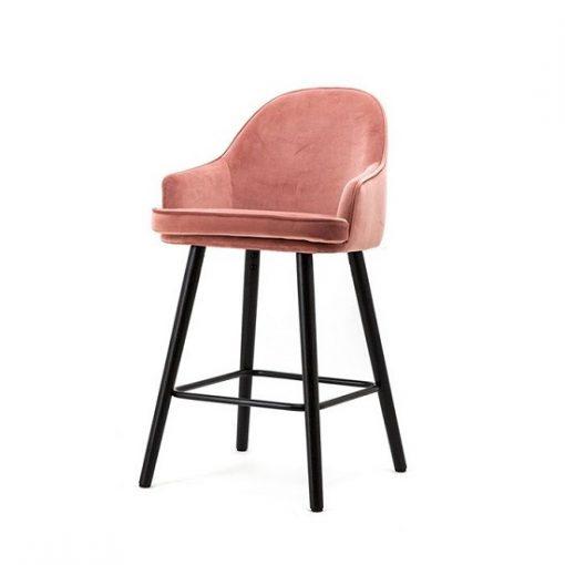 Luxe barkruk velours stof roze 70 cm