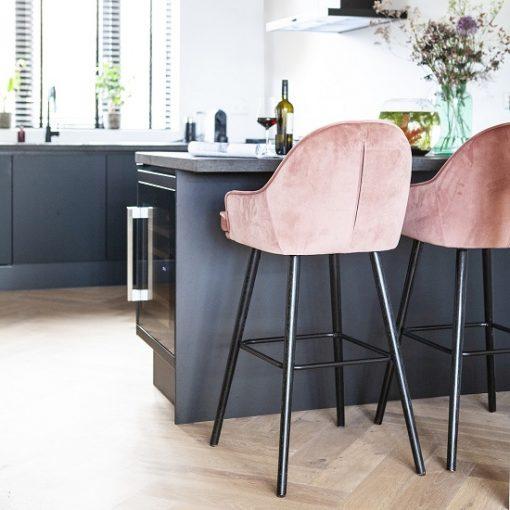 Luxe barkruk velours stof roze keuken