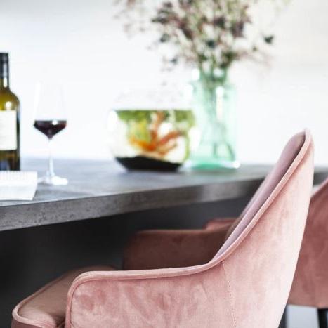 Luxe barkruk velours stof roze stoel