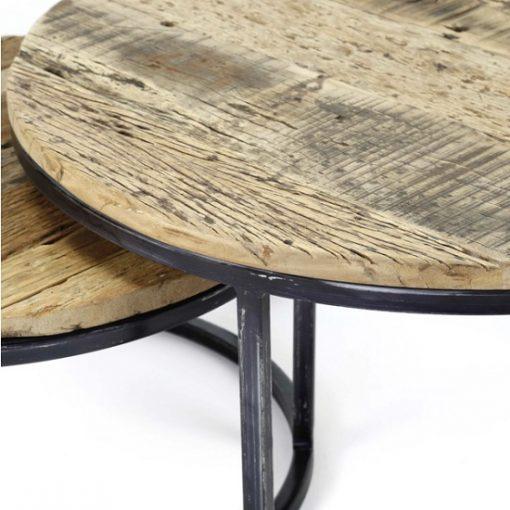 Salontafel industrieel halfrond set hout