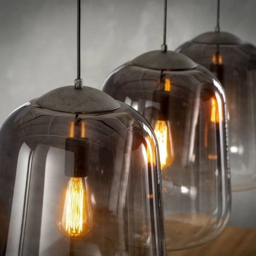 Hanglamp glazen stolp eettafel