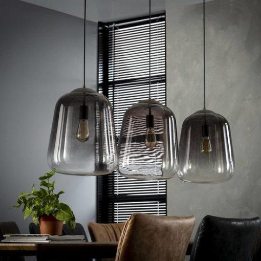 Hanglamp glazen stolp silver