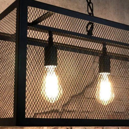 Hanglamp zwart industrieel rechthoek metaal