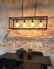 Hanglamp zwart industrieel rechthoek tafel