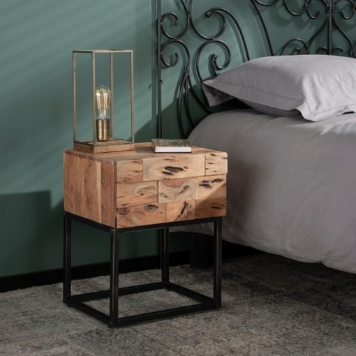 Nachtkastje industrieel acacia hout