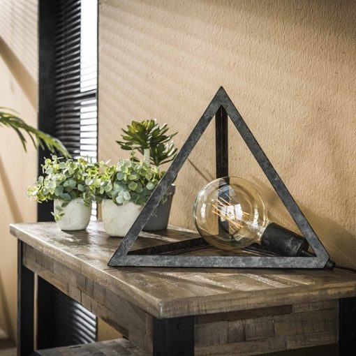 Pyramide tafellamp metaal charcoal zwart