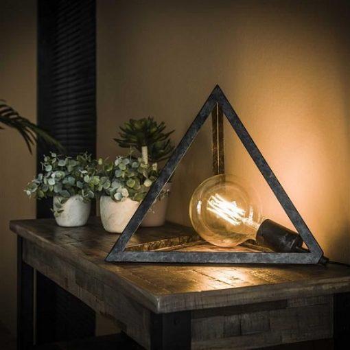Pyramide tafellamp metaal zwart