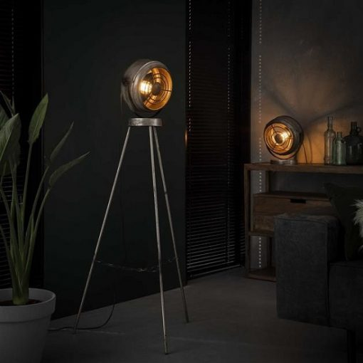Tafellamp industrieel rond metaal sfeer