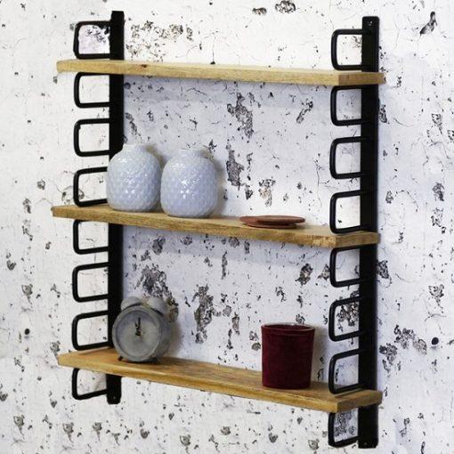 Wandplank industrieel metaal hout