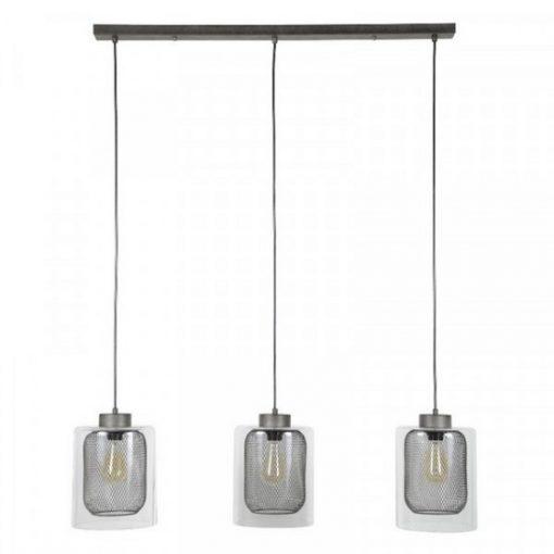 Hanglamp industrieel glas rooster sfeer
