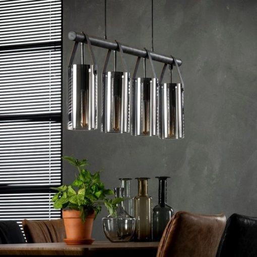 Hanglamp verchroomd glas industrieel