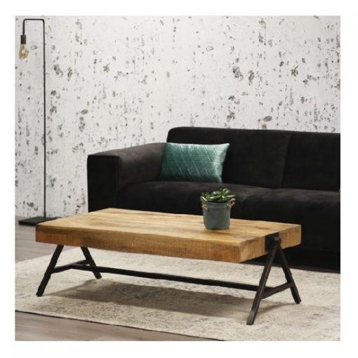 Industriële salontafel mangohout rechthoek