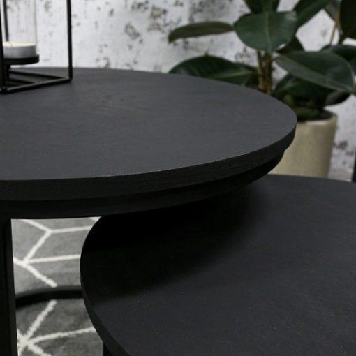 Set van 2 salontafels zwart industrieel