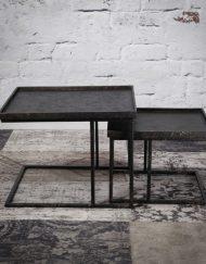 Vierkante salontafel set 2 grijs