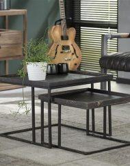 Vierkante salontafel set 2 zwart