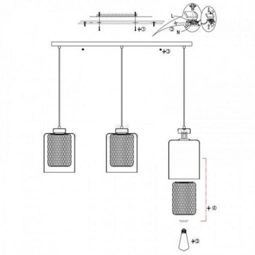 Hanglamp industrieel glas metaal