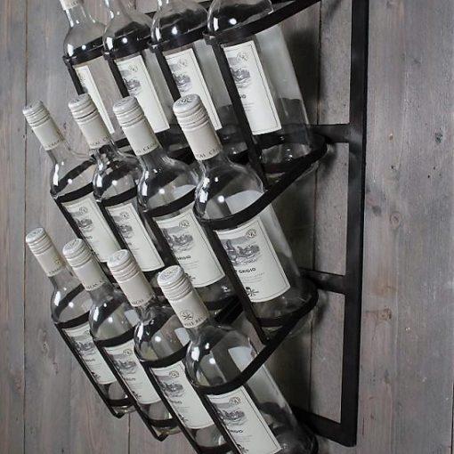 Wijnrek muur metaal fles