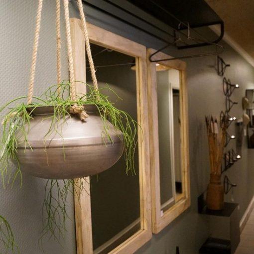 Hangpot metaal met touw stoer