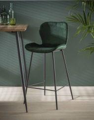 Velvet barkruk keuken groen velours