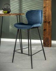 Velvet barkruk keuken blauw fluweel