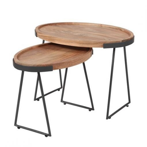 Ovale bijzettafels acacia hout metaal