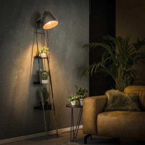 Wandrek met lamp grijs