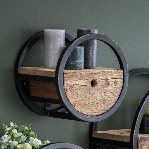 Wandrek zwart met lade hout