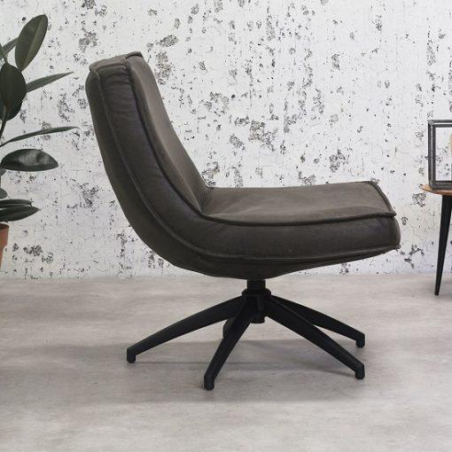 Antraciet draaibaar fauteuil industriele interieur