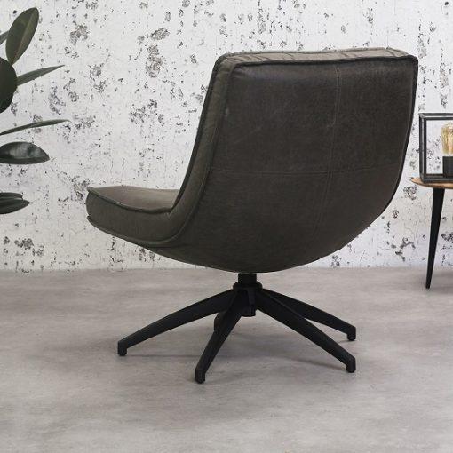 Antraciet draaibaar fauteuil industriele sfeer