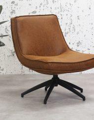 Cognac draaibaar fauteuil leer