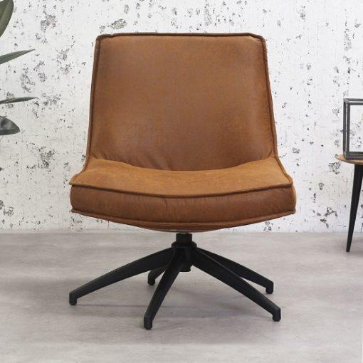 Cognac draaibaar fauteuil leer eco
