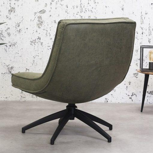 Draaibare fauteuil rustiek groen design
