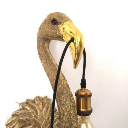Flamingo wandlamp gouden