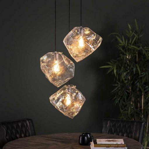 Hanglamp drie glazen blok