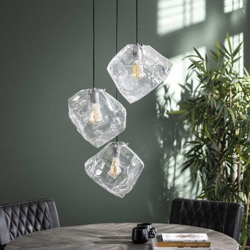 Hanglamp drie glazen blokken helder