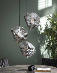 Hanglamp drie glazen blokken
