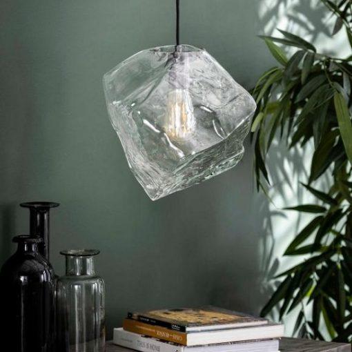 Hanglamp glas blok industrieel helder