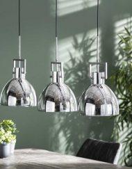 Hanglamp verchroomd industrieel glas