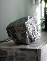 Tafellamp verchroomd glasblok