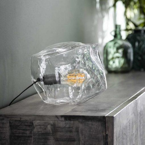 Tafellamp verchroomd glasblok helder