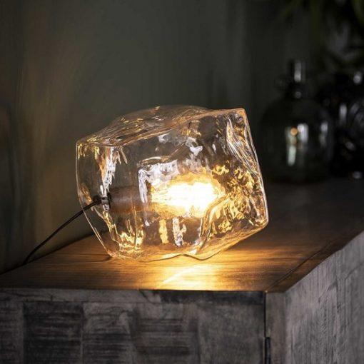 Tafellamp verchroomd glasblok helder glas