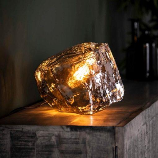 Tafellamp verchroomd glasblok industrieel