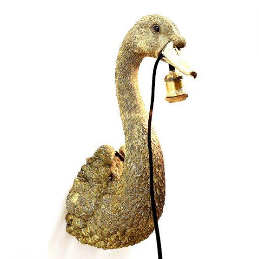 Wandlamp goud zwaan