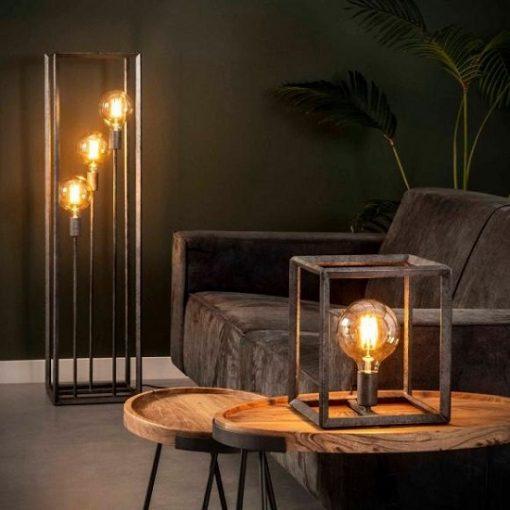 Grijze metalen vloerlamp stoer